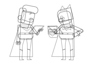 Wireframe View of Superman and Batman Characters