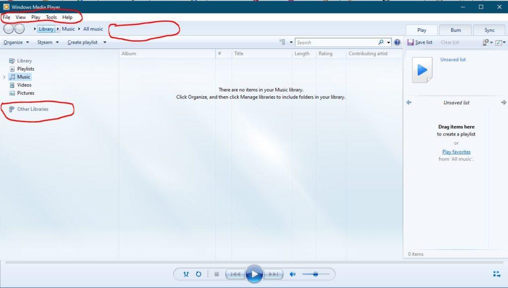 Windows Media Player 12 Interface