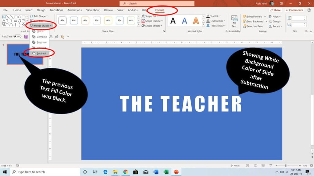 Merge Shapes Subtract Command in PowerPoint